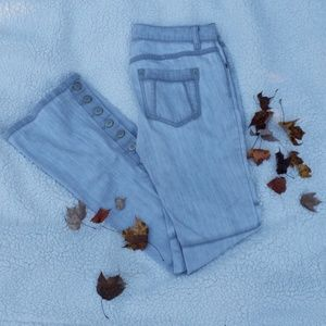 Free People gray moto flare Jeans with snaps
